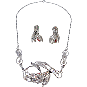 Vintage ROMAN & Sunstone Sterling Silver with Cubic Zirconia Necklace & Earrings Set.