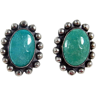 Navajo – Fred Harvey Era Sterling & Turquoise Earrings – C. 1950s