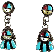 Zuni – Ernest Zunie Multi Stone Inlay Sunface Dangle Earrings - C. 1970s