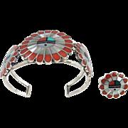 Zuni - Janta Lonjose Sterling & Multi Stone Sunface Bracelet, Ring Set.