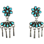Zuni – Sterling and Turquoise Petit Point Dangle Earrings