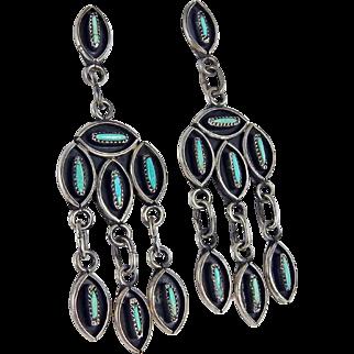 Zuni – Eleanor Weeka – Sterling & Turquoise Chandelier Earrings – C. 1970s