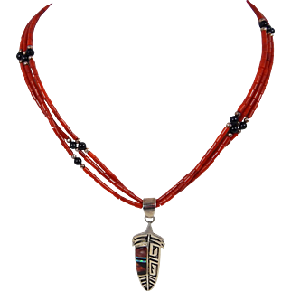 Navajo – Sterling & Coral Necklace with Feather Pendant