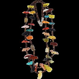 Zuni – Two Strand, Multi Stone Fetish & Heishi Shell Necklace