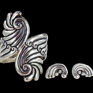 Taxco Sterling Bracelet & Earring Set by J. Gomez