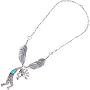 Navajo Gary S. Custer -  Tufa Cast and Turquoise kokopelli and Feather Necklace