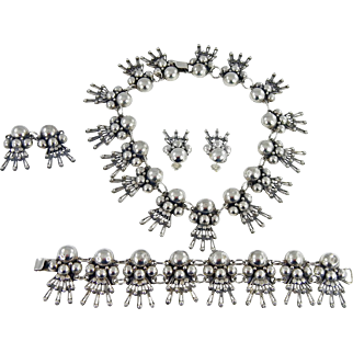 Mexican – Los Ballesteros, Sterling Necklace, Bracelet & Earring Set. - C. 1937-42
