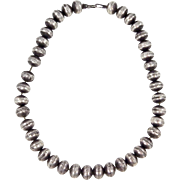 GREAT OLD Navajo Sterling Beaded Necklace. C. 1930-40s