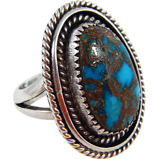 Navajo – Sterling & High Grade Morenci Turquoise Ring