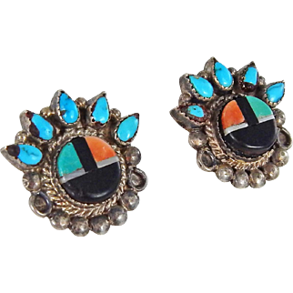 Zuni – Roger Cellicion Sterling and Multi Stone Inlay Sunface Earrings – c. 1940-50s.