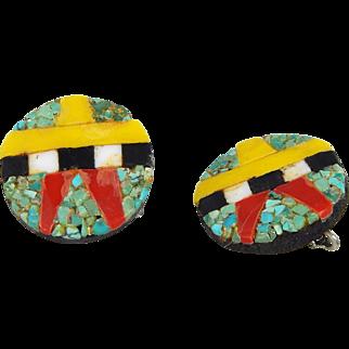 Santo Domingo – Depression Era Thunderbird Round Earrings – C. 1930-40s