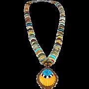 Kewa/Santo Domingo - Tony Aguilar Sr. Multi Stone Inlay Shell Necklace