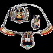 Zuni – Sterling & Multi Stone Inlay Antelope Kachina Bracelet, Necklace & Ring Set. - C. 1970s