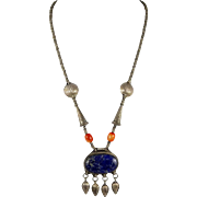 Tibetan – Antique Silver and Lapis Pendant Necklace