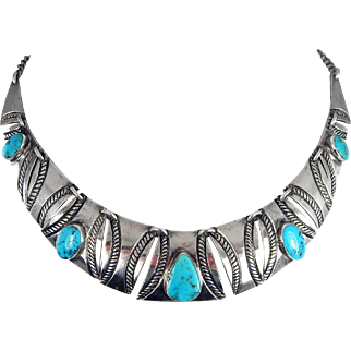 Navajo – Fred Thompson Sterling and Turquoise Necklace