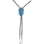 Navajo, Carl & Irene Clark Sterling and High Grade Turquoise Bolo
