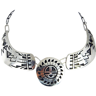 Hopi – Marcus Coochwikvia Sterling Silver Overlay Necklace