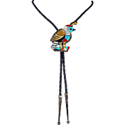 Zuni - Juan Martinez, Sterling & Multi Stone Inlay Quail Bolo