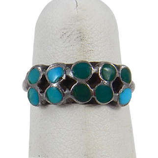 Zuni – Dishta Family Sterling & Turquoise Inlay Ring
