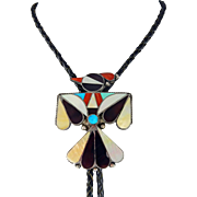 Zuni – Ray & Bernice Wyaco, Sterling, Multi Stone Inlay Hopi Bird Bolo.