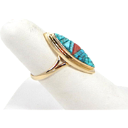 Navajo - Tim Bedah Sr., 14k Gold Lone Mountain Turquoise & Coral Inlay Ring C. 1980s