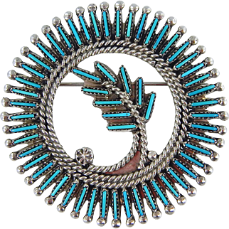 Zuni – Ray & Eva Wyaco, Sterling Silver and Turquoise Pin/Pendant