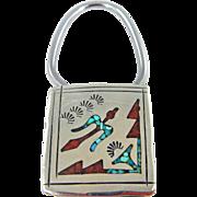Navajo – Gilo & Grace Nakai – Chip Inlay Peyote Bird Key Ring - C. 1960s