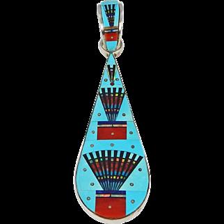 Navajo – Ervin P. Tsosie, Sterling & Multi Stone Micro Mosaic Inlay Pendant.