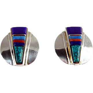 Navajo –Sterling, 14k Gold & Multi Stone Inlay Earring.