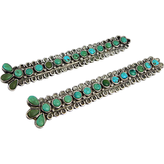 OLD Navajo – Sterling Silver and Turquoise Collar Tabs - C. 1930s