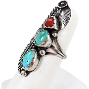 Navajo - Sterling, Turquoise & Coral Ring. C. 1970s