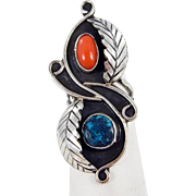 Navajo - Sterling Silver, Spiderweb Turquoise and Coral Ring - C. 1970s