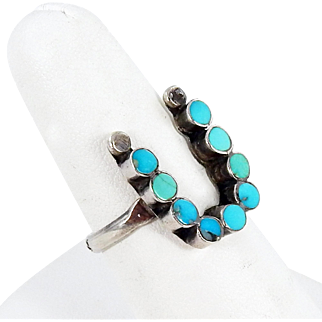 Zuni – Dishta Style, Sterling Silver & Turquoise Inlay Ring