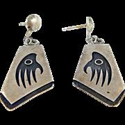 Hopi - Raymond Sequaptewa Sterling Overlay Badger Paw Earrings