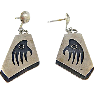 Hopi - Raymond Sequaptewa Sterling Overlay Badger Paw Earrings