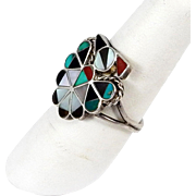 Zuni - Multi Stone Channel Inlay Hopi Bird Ring
