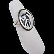 Hopi - Bueford Dawahoya Sterling Silver Overlay Hopi Bird Ring.