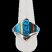 Navajo – Ervin Hoskie - Sterling & Multi Stone Corn Row Ring