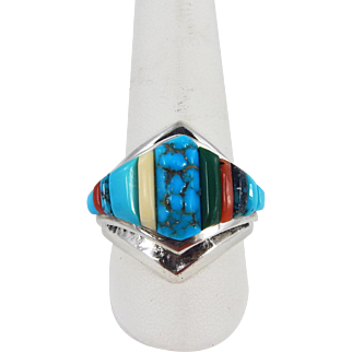 Navajo – Ervin Hoskie - Sterling & Multi Stone Corn Row Ring