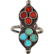 Zuni – Virgil or Vincent Dishta, Sterling, Turquoise & Coral Inlay Ring