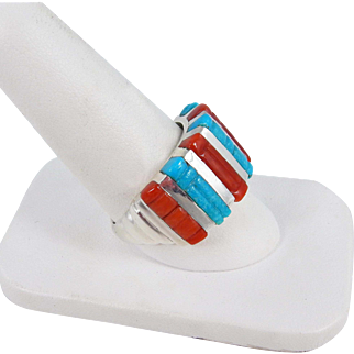 Zuni – Don C. Dewa, Sterling Turquoise & Coral Inlay Ring