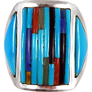 Navajo – Sterling Silver and Multi Stone Inlay Ring