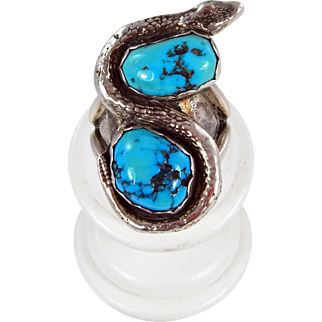 Navajo or Pueblo Sterling and Natural Kingman Turquoise Snake Ring.