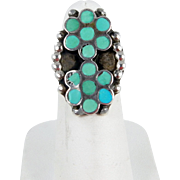 Zuni – Dishta Family, Sterling and Turquoise Inlay Ring
