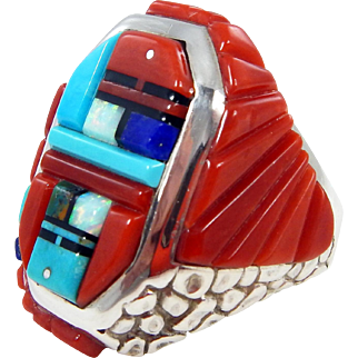 Navajo – Wilbert Manning – Sterling and Multi Stone Inlay Ring