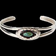Navajo Russ Rockbridge Sterling Silver & Carico Lake Turquoise Shadow Box Bracelet