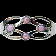 Mexican Sterling Silver Split Shank with Jelly Opal Bracelet