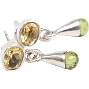 Sterling Silver Drop Earring with Peridot Stones