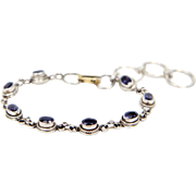 Sterling Silver with Dark Purple Gem Stone Bracelet