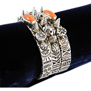 Melanie Deluca – Sterling Silver with Coral 3 Bracelet set. C. 1980-90s